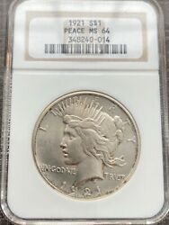 Avc- 1921 High Relief Peace Dollar Ngc - Ms64