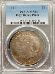 Avc- 1921 High Relief Peace Dollar Pcgs - Ms64