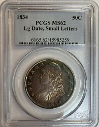 1834 Lg Date, Small Letters Capped Bust Silver Half Dollar Pcgs Ms62, Toning