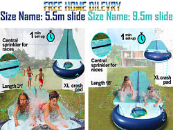 Team Magnus Slip And Slide Xxl With Dual Racer Lanes Water-spraying Channel And