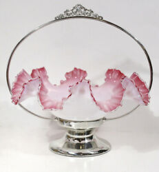 Antique Silver Plate Brides Basket With Cranberry Pink Glass Ruffle Bowl