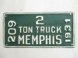 1931 Memphis Tennessee Truck License Plate Tag