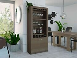New York Bar Cabinet With 2 Drawers, 5 Bottle Cubbies, 2 Open Shleves