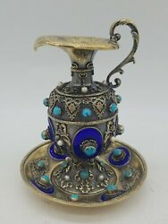 Continental Gilt Sterling Silver Enameled Jeweled Ewer And Plate