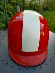 Vintage Motorcycle Car Agv Valenza Red And White Helmet Italy 1950s Scooter