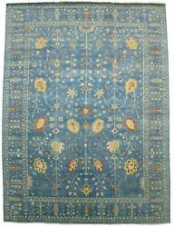 Tree Of Life Hand-knotted Blue Large 10x14 Floral Osh Chobi Oriental Rug Carpet