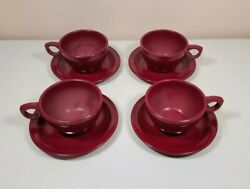 Set Of 4 Melmac Melamine Prolon Ware Cups And Saucers Maroon Red