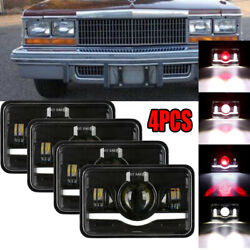 4x 4x6 Inch Led Headlights Hi/lo 120w Fit Cadillac Commercial Chassis 1979-1986