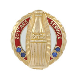 Coca-cola 20 Year Company Service Pin -10k Yellow Gold Sapphires And Enamel Badge