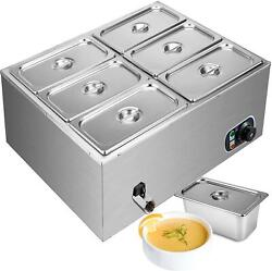 Electric Buffet Server 6 Plate Food Warmer Catering Dish Tray Stainless Steel