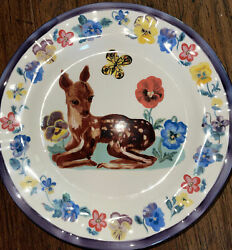 New Anthropologie Nathalie Lete Francophile French Fawn Floral Deer Plate 💐