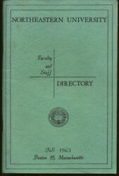 Northeastern University Faculty And Staff Directory Fall 1963