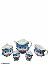 Rare Lefton Miss Priss China Teapot Cream And Sugar Salt And Pepper With Lids 1950and039s