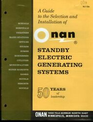 Onan Standby Electric Generating Systems Selection Installation Guide 1973