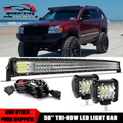 For 1993-1998 Jeep Grand Cherokee Zj Upper Roof 50 Led Light Bar Curved Combo