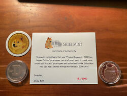 2021 Doge Coin Copper Round Shibe Mint Coa Much Wow