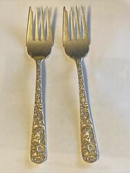 2 S Kirk And Son Repousse Individual Salad Forks 6-1/4 Sterling Silver