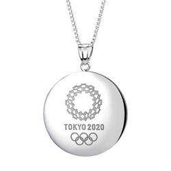 Tokyo 2020 Olympic Emblem Round Silver Pendant With Chain Sv925