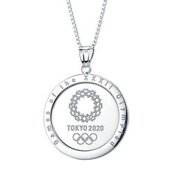 Tokyo 2020 Olympic Emblem Tournament Name Silver Pendant With Chain Sv925