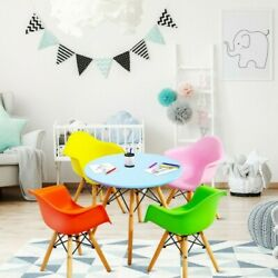 5 Piece Kids Mid-century Modern Color Round Table Chair Set With 4 Arm Chairs