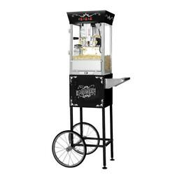 Great Northern Popcorn Machine 8 Oz. Antique Black With Cart 19 .in Wx 17 .in H