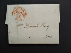 Maine District Of Portland 1817 Stampless Cover, Red Cds And 6c Rate To Saco