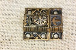 """Very Small Old Cabinet Catch Jelly Cupboard Latch Solid Bronze 1 3/4"""" Vintage"""