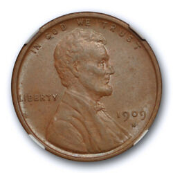 1909 S Vdb 1c Lincoln Wheat Cent Ngc Au 55 Bn About Uncirculated Key Date Tou...