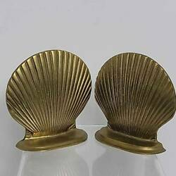 Pair Brass Bookends Intricate Carved Shell Curved 6 Width Library Collectible