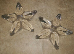 Vintage Heavy Glass Star Candlestick Holders Clear Glass