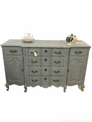 Antique Sideboard Buffet French Provincial Painted Blue Cuvey Front Solid Wood