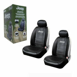 New Jeep Elite Mopar Black Car Truck Synthetic Leather Sideless Seat Covers Set