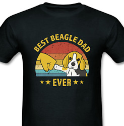 Mens Cute Best Beagle Dad Ever Retro Vintage Gift Puppy Lover T Shirt