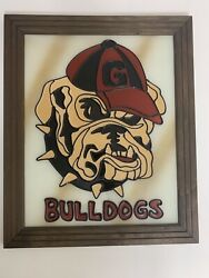 University Of Georgia Bulldogs Uga Stain Glass Picture Frame Vintage Bar Sign
