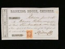 1865 Used Certificate Of Deposit Chinese California Banking House, R27b Affixed