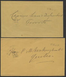 1858-1860 Two Free Rated Covers With Port Hope Cw Ruggles Postmarks