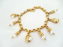 18k Yellow Gold Signed Fobe Italian Chain Bracelet W/ Pearl Charms 33+ Grams