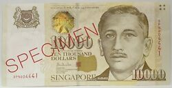Singapore 1999 .10,000 Dollars . Collector's Specimen Banknote ..rare And Aunc