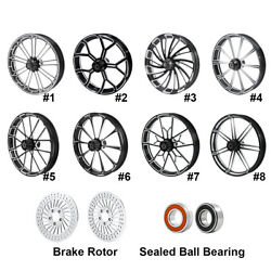 26and039and039 Front Wheel Rim Hub + Brake Rotor Fit For Harley Touring Street Glide 08-21