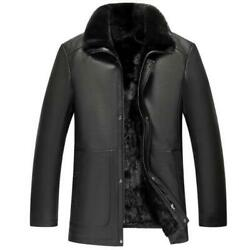 New Men Real Leather Mink Fur Lined Parka Jackets Business Formal Lapel Casual L