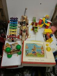 Vintage Fisher Price Toys Lot Of 7 Musical Tv, Snoopy Musical Dog. 1960's -toys