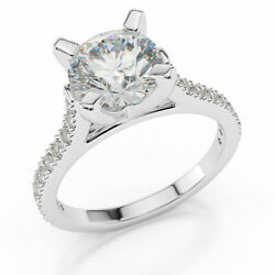2.30 Ct D/si1 Jewelry Round Cut Diamond Engagement Ring 14k White Gold