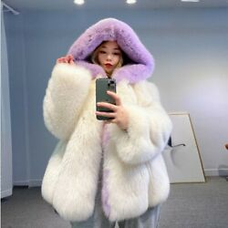 New Whole Skin Winter Women Jacket Natural Fur Coat With Hood Warm Real Fur