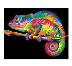 Colorful Chameleon Painting By Numbers Lizard Reptile Oil Paint By Numbers DIY