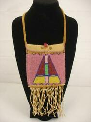 Beaded Work Native American Crow Indian Brain Tanned Leather Messenger Bag Pouch