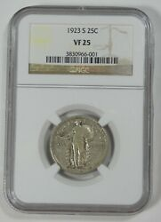 1923-s Standing Liberty Quarter Certified Ngc Vf 25 Silver 25c