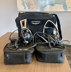 Set Of Two Bose X Aviation Headset With Lemo Plugs Includes Jeppesen Flight Bag