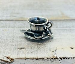 Rare Retired James Avery Sterling Silver Charm, Tea Cup Saucer And Spoon