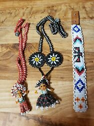 Vintage Native American Beaded Necklaces And Bracelet