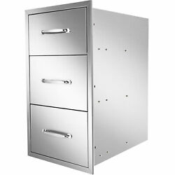 Outdoor Kitchen Drawers 17x23x24.5 Inch Bbq Island Stainless Steel Triple/3new